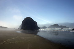 Oregon Beach. In morning mist royalty free stock photo