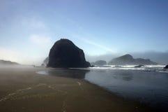 Oregon Beach. In morning mist Royalty Free Stock Photo
