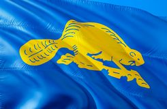 Oregon Beaver flag. 3D Waving USA state flag design. The national US symbol of Oregon state, 3D rendering. National colors and royalty free stock photos