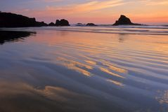 Oregon Coast 10. Sunset reflects on the sands of Indian Beach at Ecola State Park, Oregon, USA royalty free stock image
