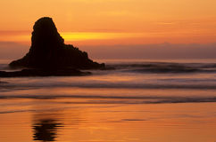 Oregon Coast 12. Sunset relects on the sands of Indian Beach, Ecola State Park, Oregon, USA royalty free stock photos