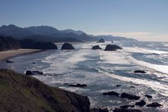 Oregon Coast. As seen from Ecola State Park.  Includes Cannon Beach, Oregon and Haystack Rock, both of which are in the middle of a tsunami zone Royalty Free Stock Photo