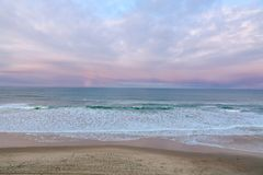 Oregon Coast Beach Sunset, Pacific Ocean. An evening aerial sunset view of the Central Oregon Coast stock photo
