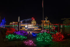 Oregon Coast Historical Railway in Christmas lights Royalty Free Stock Image