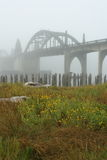 Oregon coast portraits. Bridge at Florence, OR on a foggy day stock image