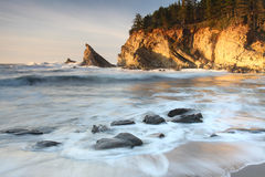 Oregon coast portraits. Long exposure of incoming waves at Sunset Bay on the Oregon coast Stock Image