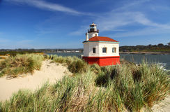 Oregon coast portraits. Portrait of the freshly painted Coquille River Lighthouse near Bandon on the Oregon coast Stock Photo
