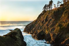 Oregon coast portraits. Sunset at Heceta Head st. park located on the central Oregon coast Stock Image