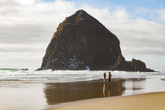 People on Oregon beach Royalty Free Stock Images