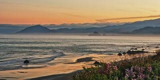 Oregon coast sunset. Nesika beach Oregon sunset, looking north to humbug mountain Stock Photos