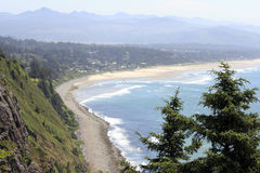 Oregon Coast View. High up view from an overlook viewpoint in the Oswald West area looking towards Manzanita, Oregon on a sunny summer day Royalty Free Stock Photo