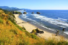 OREGON COASTLINE BEACH. Hiking trails above Cannon beach Oregon Stock Images