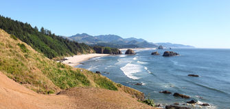 Oregon coastline panorama near Cannon beach. Royalty Free Stock Image