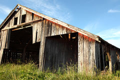 Oregon country portraits. Evening light enhances the weathered wood grain on a rustic barn Royalty Free Stock Images