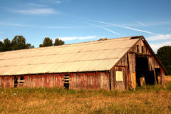 Oregon country portraits. Evening light enhances the weathered wood grain on a rustic barn Royalty Free Stock Image