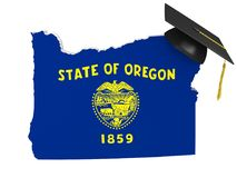 Oregon state college and university education concept, 3D rendering. Oregon education concept of a 3D state map icon and a university graduate mortarboard Stock Photography