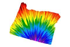 Oregon - el mapa es modelo colorido diseñado del extracto del arco iris ilustración del vector