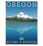 Oregon, Estados Unidos viaja cartel stock de ilustración