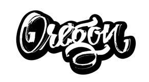 oregon etikett Modern kalligrafihandbokstäver för serigrafitryck Royaltyfri Foto
