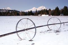 Irrigation Device Oregon Farm Wintertime Mountains Royalty Free Stock Photos