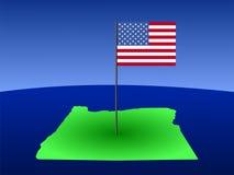 Oregon with Flag Royalty Free Stock Photo