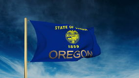 Oregon flag slider style with title. Waving in the stock video