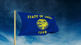 Oregon flag slider style. Waving in the win with. Oregon flag slider style. Waving with cloud background animation stock footage
