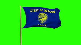 Oregon flag waving in the wind. Green screen. Alpha matte. Loops animation stock video