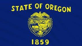 Oregon-Flagge flattert im Wind, Schleife für Hintergrund stock footage