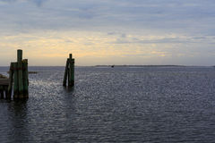 Oregon Inlet NC bay area with fishing boats, sound and marshes a Royalty Free Stock Photos