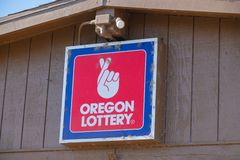 Oregon lottery sign on the store stock photography