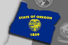 Oregon map and flag Royalty Free Stock Photos