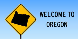 Oregon map on road sign. Wide poster with Oregon us state map on yellow rhomb road sign. Vector illustration Royalty Free Stock Images