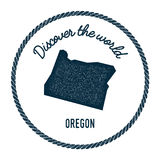 Oregon map in vintage discover the world rubber. Stock Photos