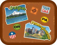 Oregon, Pennsylvania travel stickers with scenic attractions. And retro text on vintage suitcase background Stock Photos
