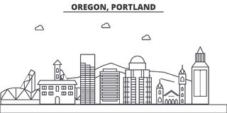 Oregon, Portland architecture line skyline illustration. Linear vector cityscape with famous landmarks, city sights Royalty Free Stock Photos