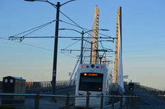 Oregon Portland Light Rail an Bridge Stock Photo