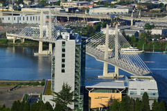 Oregon Portland Tilikum Crossing Bridge View from Tram royalty free stock images