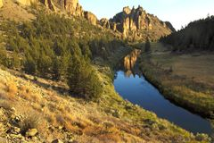 Oregon portrait. View of the Crooked river flowing through Smith Rock state park in Oregon Stock Photography