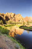 Oregon portrait. Sunset image at smith rock state park. Basalt rock reflections on the crooked river Stock Photos