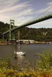 Oregon portraits. Portrait of the St. Johns bridge located in Portland, OR Royalty Free Stock Image