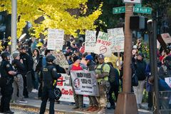 Oregon protest with women rights signs. stock photos