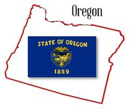 Oregon State Map and Flag Stock Photos