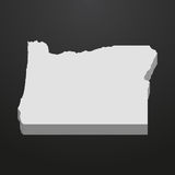 Oregon State map in gray on a black background 3d Stock Image