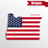 Oregon State map with US flag inside and ribbon Stock Image