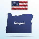 Oregon state with shadow with USA waving flag Royalty Free Stock Image