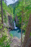Oregon-Umpqua National Forest-Roge-UmpquaScenic Byway-Toketee Falls. This is picture postcard scenery. Stock Photos