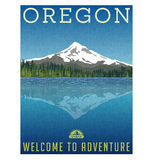 Oregon, United States travel poster. Or luggage sticker. Scenic illustration of Mt. Hood behind lake with reflection Stock Photos