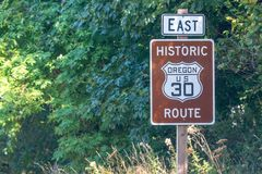 OREGON, US - AUGUST 19, 2017: US 30 route sign. This is a famous Royalty Free Stock Images