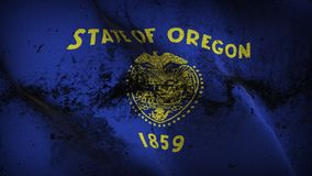 Oregon US State grunge dirty flag waving on wind. United States of America Oregon background fullscreen grease flag blowing on wind. Realistic filth fabric Royalty Free Stock Image